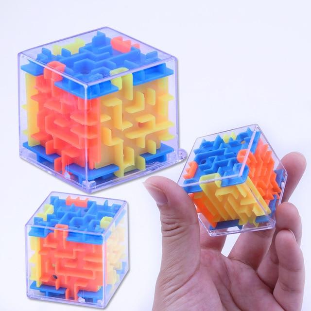 UainCube 3D Cube Puzzle Maze Toy Hand Game Case Box Fun Brain Game Challenge Fidget Toys Balance Educational Toys for children 4