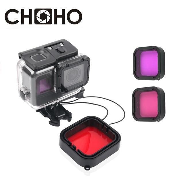 58 mm Lens Cap 58mm Yellow Red Magenta Diving Filter Flip Adapter Ring for GoPro Hero 5 6 Waterproof Housing Case