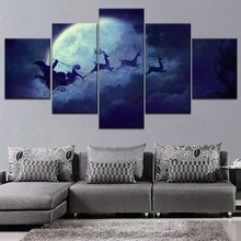 Santa Claus Sleigh in the Night Sky Painting 5 Piece Modular Style High Quality Canvas Print Type Decorative Wall Artwork Poster