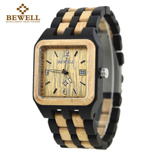 BEWELL Quartz Wood Watch Men Wooden Square Dial Auto Date Box Watch Rectangle Men Luxury Brand 2016 Relogio Masculino 111A
