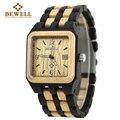 Bewell madera reloj de cuarzo de los hombres de madera cuadrada caja de reloj rectángulo dial auto fecha hombres de la marca de lujo 2016 del relogio masculino 111a