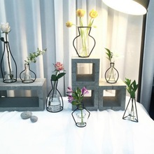 Home Party Decoration Vase Abstract Black Lines Minimalist Abstract Iron Vase Dried Flower Vase Racks Nordic Flower Ornaments (China)