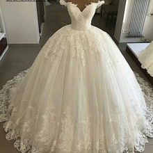 LANSHITINA Wedding Dresses V-neck Dress 2019 Ball Gown