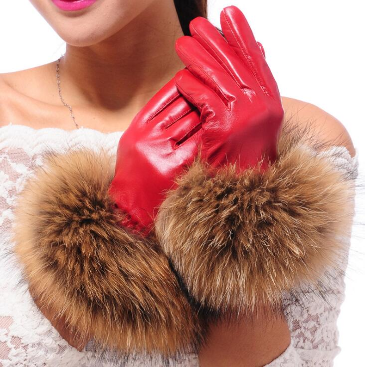 Women's autumn and winter thicken fleece lining glove lady's natural sheepskin leather glove raccoon fur driving glove <font><b>R307</b></font> image