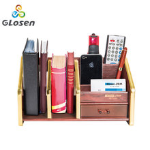 Pen holders New Fashion Luxury Wood Multi-function Desk Storage Box Office Supplies Stationery Glosen C2024