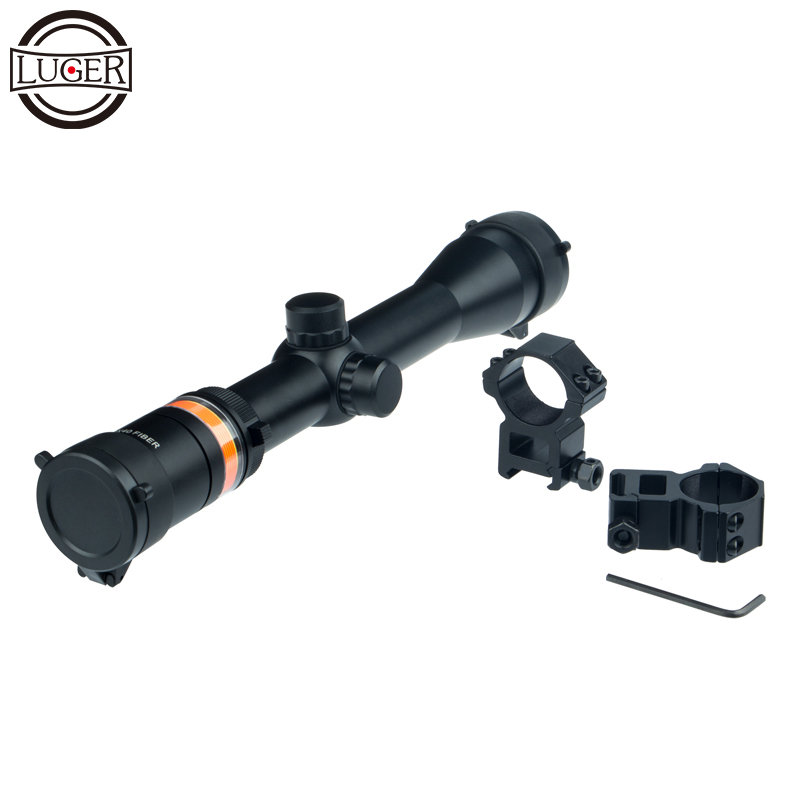 LUGER 3-9X40FIBER Riflescope Hunting Scope Fits 11/20 Rail Mount For Air Gun Outdoor Tactical Game Optical Sight Rifle Scope цена и фото