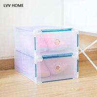 LVV HOME foldable drawer type shoe storage box/metal hemming translucent thickened shoebox inishing boxes