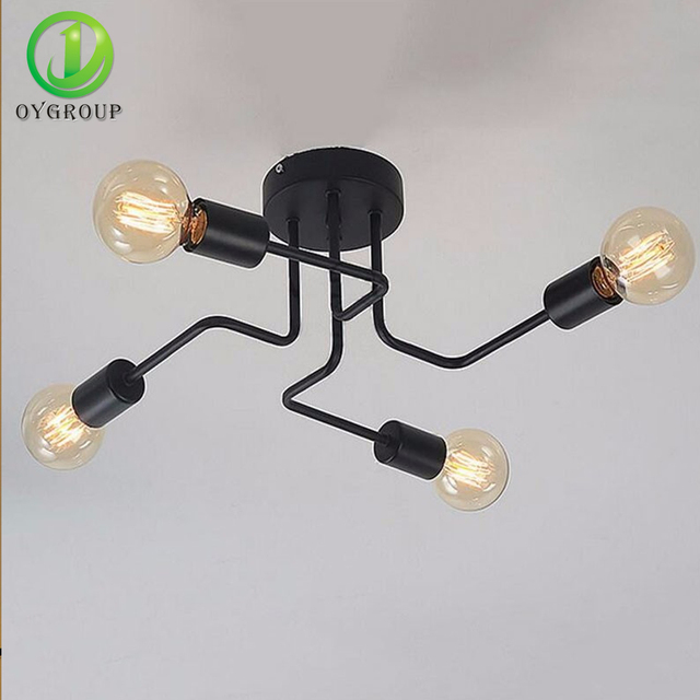 Retro Industrial Loft Nordic Pipe Wrought Iron Ceiling Light Lustre 4 Heads Lamp for Home Decor Restaurant Dinning Cafe Bar Room