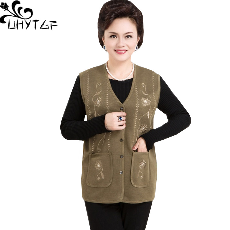 UHYTGF Spring autumn vests for women Single-breasted knit cardigan vest Female Fashion embroidered loose thin vest waistcoat 198