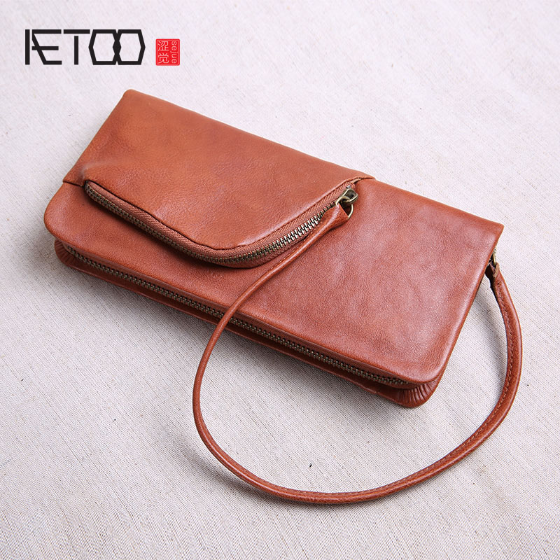 AETOO Retro leather wallet male long section zipper Japanese tide vegetable tanned leather clutch leather large capacity wallet