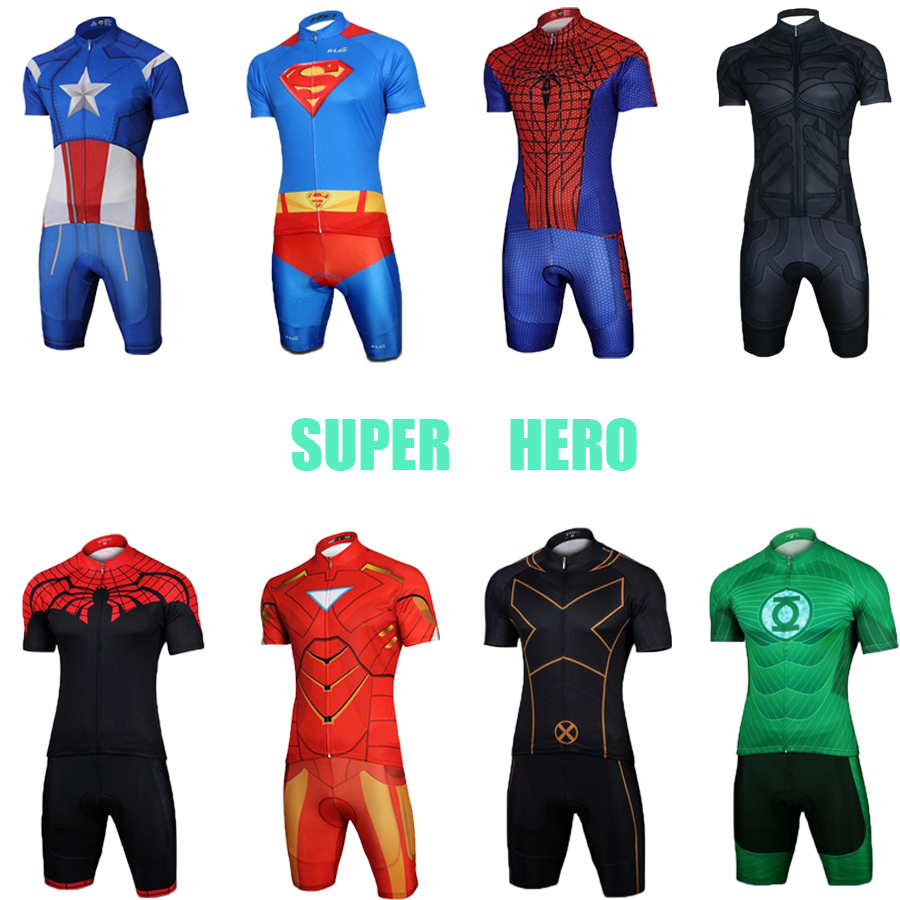 Wear Suit-Kit Dress Cycling-Jersey-Set Bike-Clothing Triathlon Maillot Super-Hero Male title=