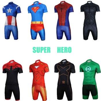 Super hero Men's cycling jersey set Pro gel bike clothing triathlon skinsuit  bicycle clothes male maillot suit kit dress wear