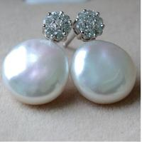 Women Gift word 925 Sterling silver real Shipping natural freshwater pearls Baroque coin shaped earrings earrings S925 high