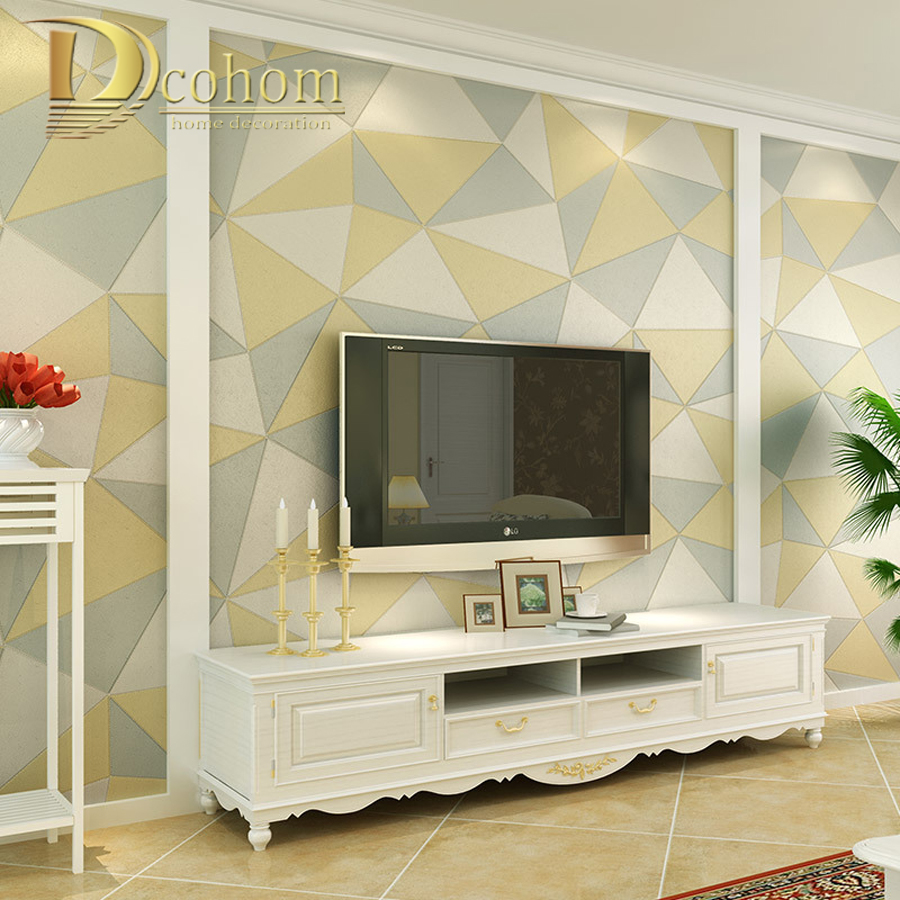 Fashion PVC Modern Simple Geometric 3D Wallpaper For Walls Home Decor Wall paper Rolls For Bedroom Living room Sofa Background fashion letters and zebra pattern removeable wall stickers for bedroom decor