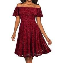 купить ARiby Women Summer Dress Lace Elegant Dress 2019 Fashion Slash Neck Off The Shoulder Short Sleeve Knee-Length A-Line Solid Dress по цене 1113.09 рублей