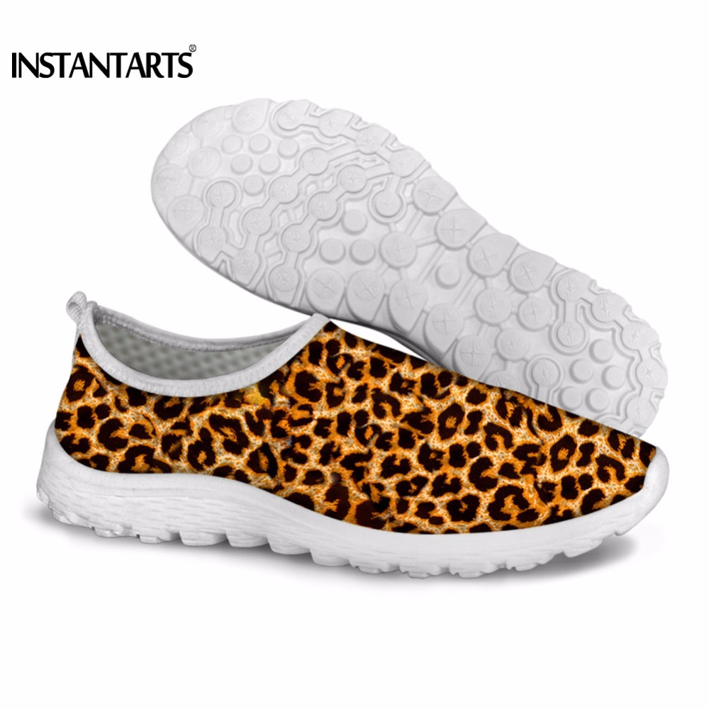 INSTANTARTS Leopard Women Casual Sneakers Shoes Golden Breathable Light Mesh Summer Flat Shoes Woman Slip-on Tenis Feminino 2018 mwy women breathable casual shoes new women s soft soles flat shoes fashion air mesh summer shoes female tenis feminino sneakers