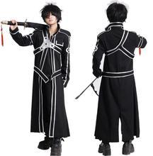 חרב אמנות באינטרנט SAO Kirito Kirigaya Kazuto גלימת קוספליי תלבושות ארוכות מעיל מעיל (גלימה + חגורה + כתף רצועות)