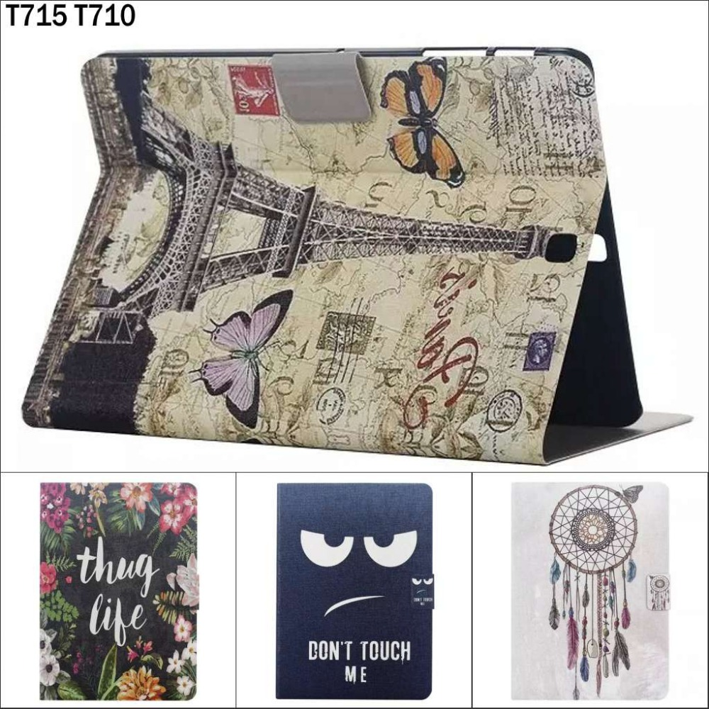 Fashion Cartoon Cute Eiffel Tower Flower wallet card pu leather stand holder case cover for Samsung Galaxy Tab S2 8.0 T710 T715