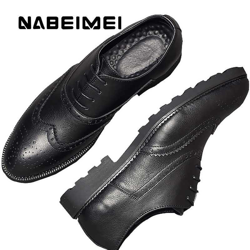 Superstar brogue shoes men artificial leather breather male autumn shoes large size 37-46 solid black/brown shoes