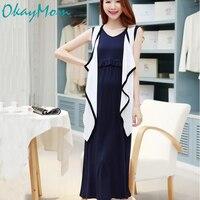 OkayMom Blue Maternity Nursing Dress Clothes Summer Pregnancy Nurse Wear Breastfeeding Dress Pregnant Women Vestidos Clothing