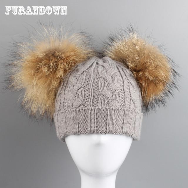 3e8f68654 FURANDOWN Gorras Sombreros Para Niños Chicas Dos Pompones de Piel de  Invierno Skullies Gorros Niño Casquillo