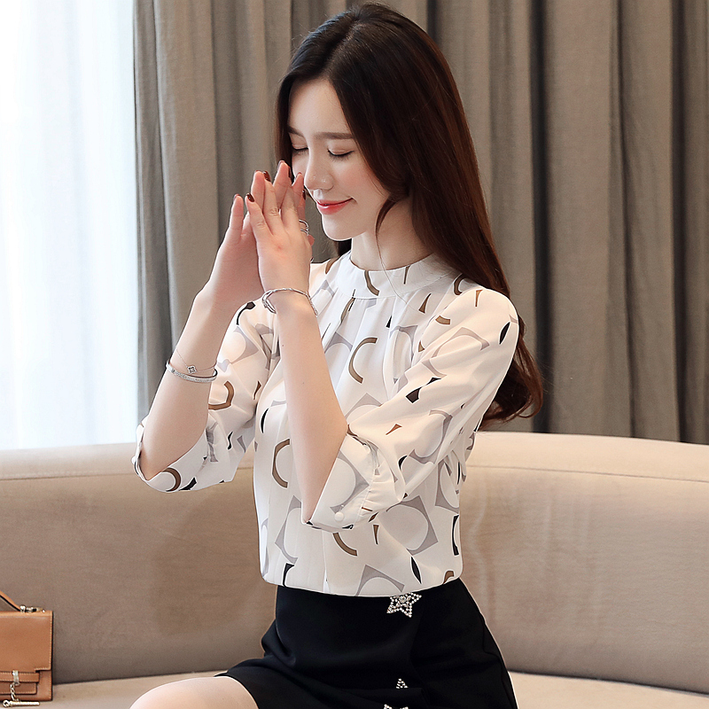 Summer Blouse For Women 2021 Womens Clothing Print Chiffon Blouse Women Office Ladies Tops Womens Tops And Blouses 4482 50 4