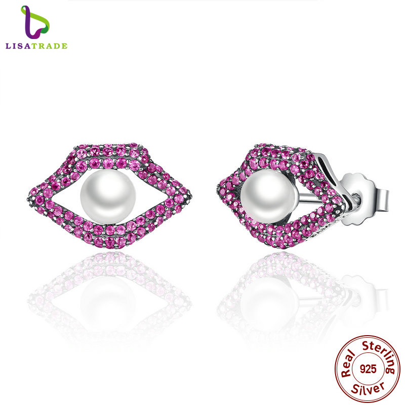 Buy 100% Real 925 Sterling Silver Sexy Mouth Red Lips Stud Earrings With Shell Pearl For Women Fashion Jewelry SCE034