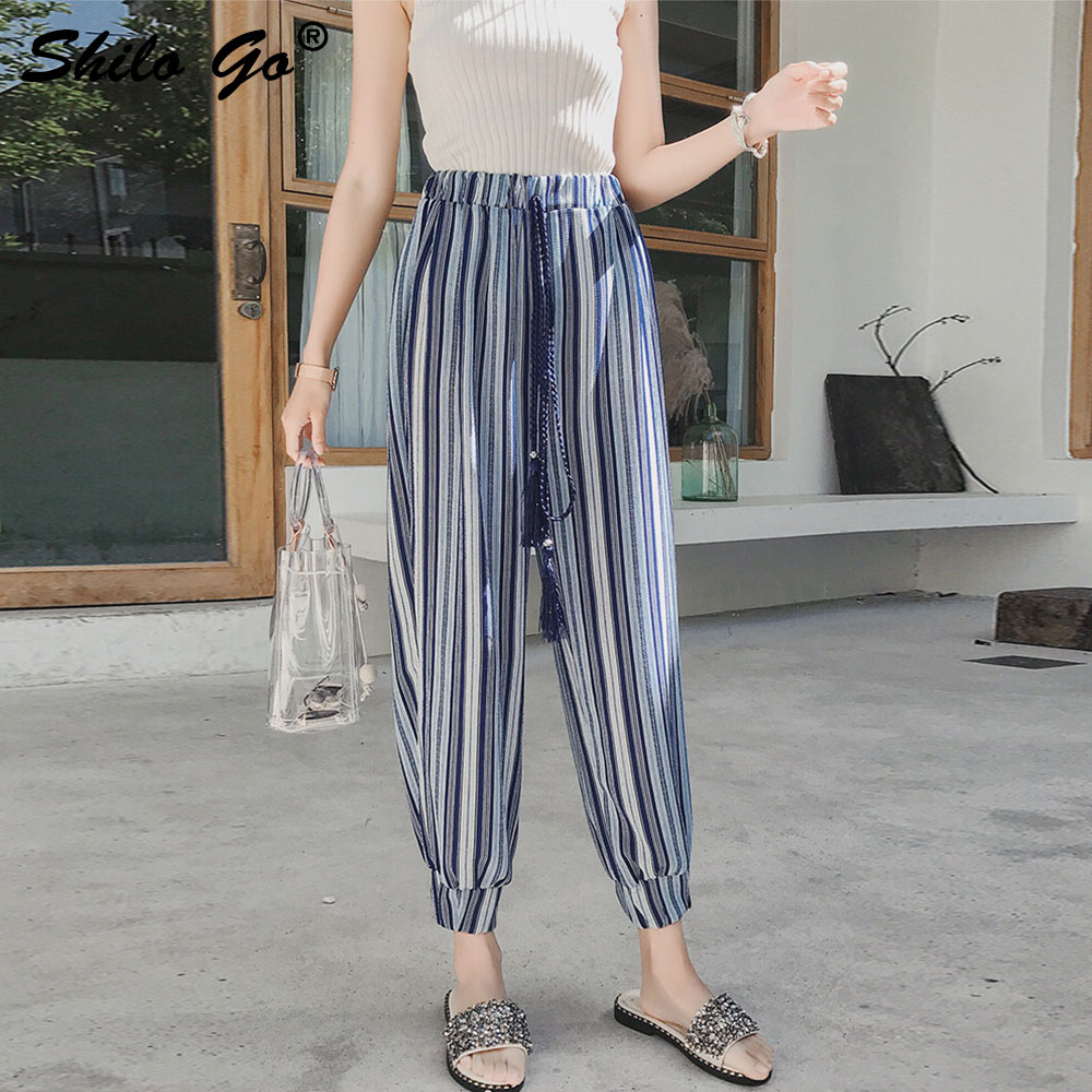Stripe Print Harem   Pants     Capri   Loose Casual   Pants   Women Beach Summer Chiffon Trousers High Waist   Pants   2019 Female