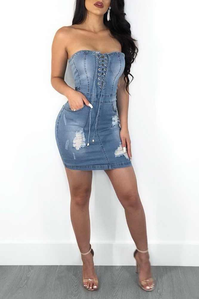 Wendywu, сексуальное джинсовое платье без бретелек на шнуровке, летнее женское Синее джинсовое облегающее платье, уличная одежда, джинсовое платье Vestidos