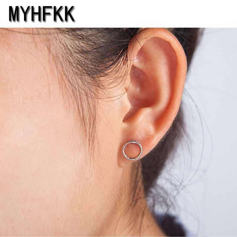 MYHFKK Fashion Bohemian Vintage Earrings Jewelry Cute Black Geometric Round Metal Female Gift Birthday Gift EH074