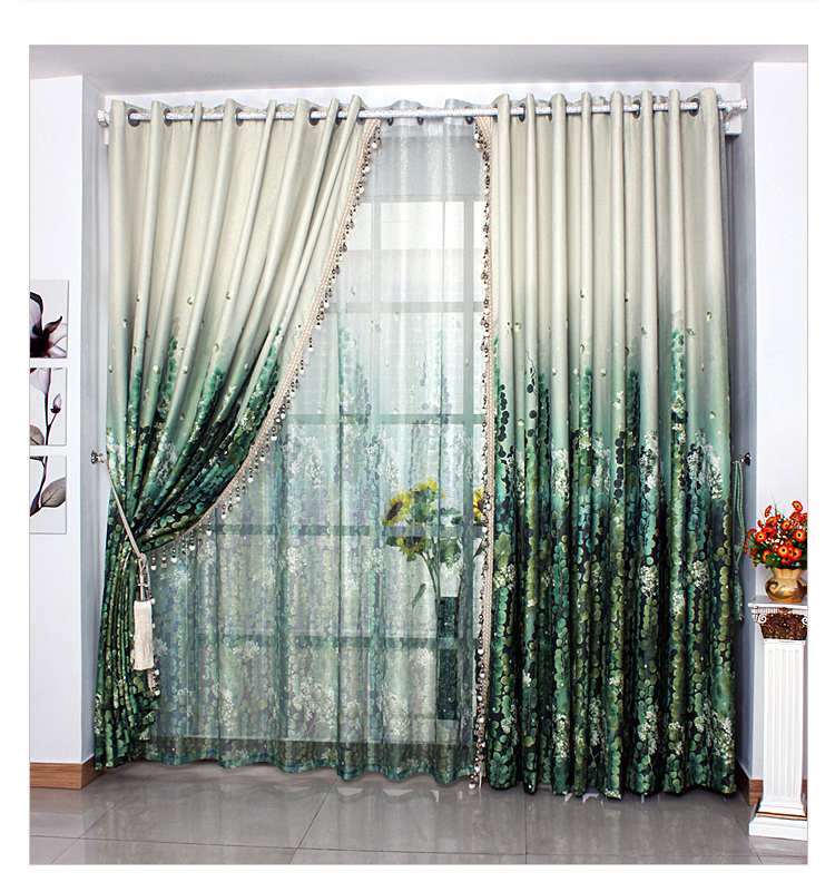 green curtains for living room furniture kids free shipping bed ready made classical dark curtain 1 lot includes 1m cloth and sheer