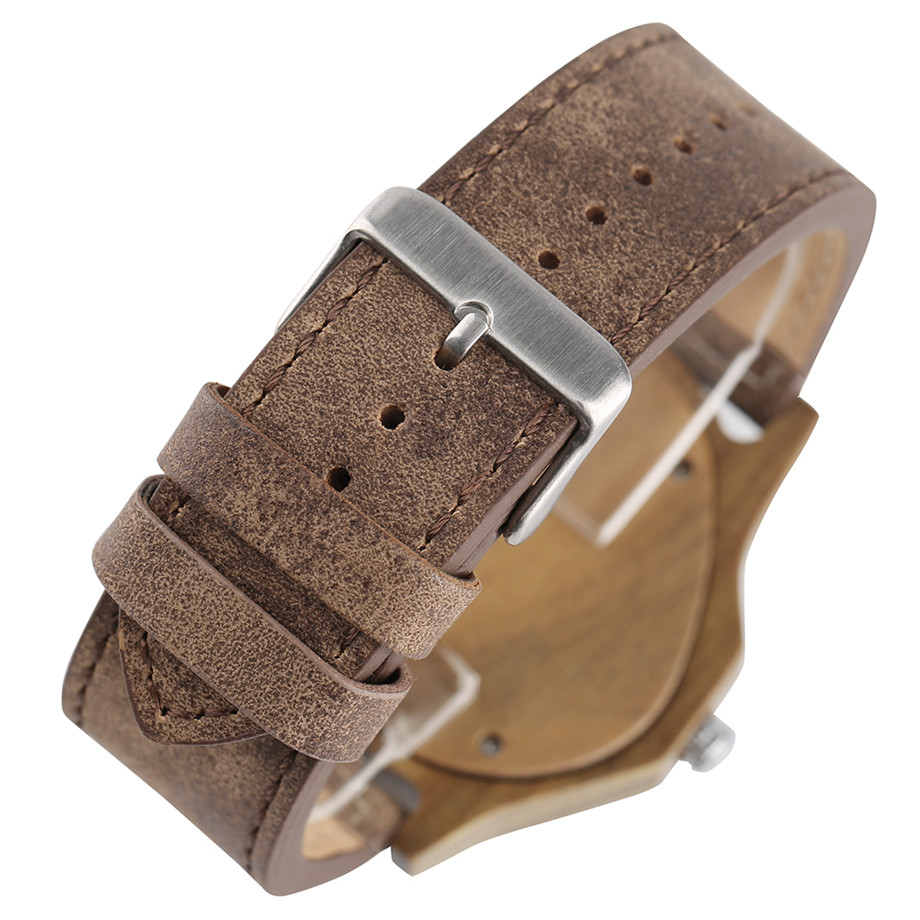 genuine leather band pink buckle quartz Green walnut wood watches04