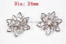 Free Shipping!20PCs 24mm Wholesale Clear Silver Plated Flower Rhinestone Embellishment Findings /Connectors Fit Jewelry DIY