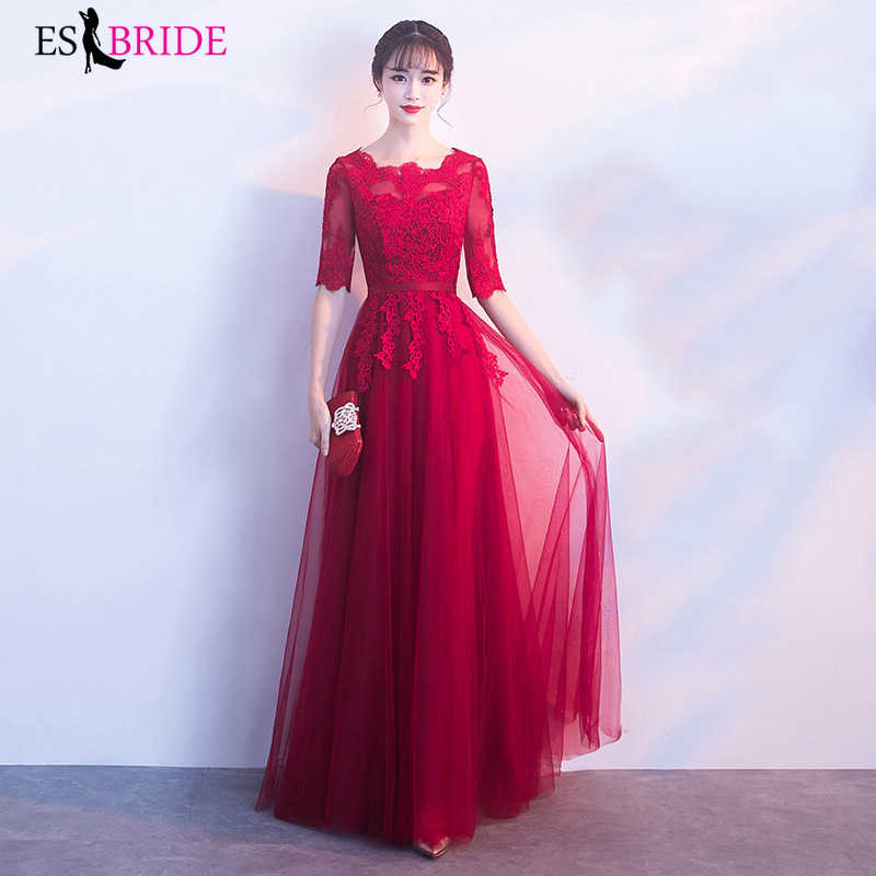 Fashion Red   Evening     Dress   Round Collar A-line Short Sleeve Wedding Party Formal   Dress   Special Occasion   Evening     Dresses   ES1621
