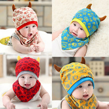 09387e51c1cac 2pc set Baby Beanies Cap Set with Bandana Bib Monsters Design Hat Head  Scarf Boy Girl Kids Toddler Clothing Accs Knitted Caps