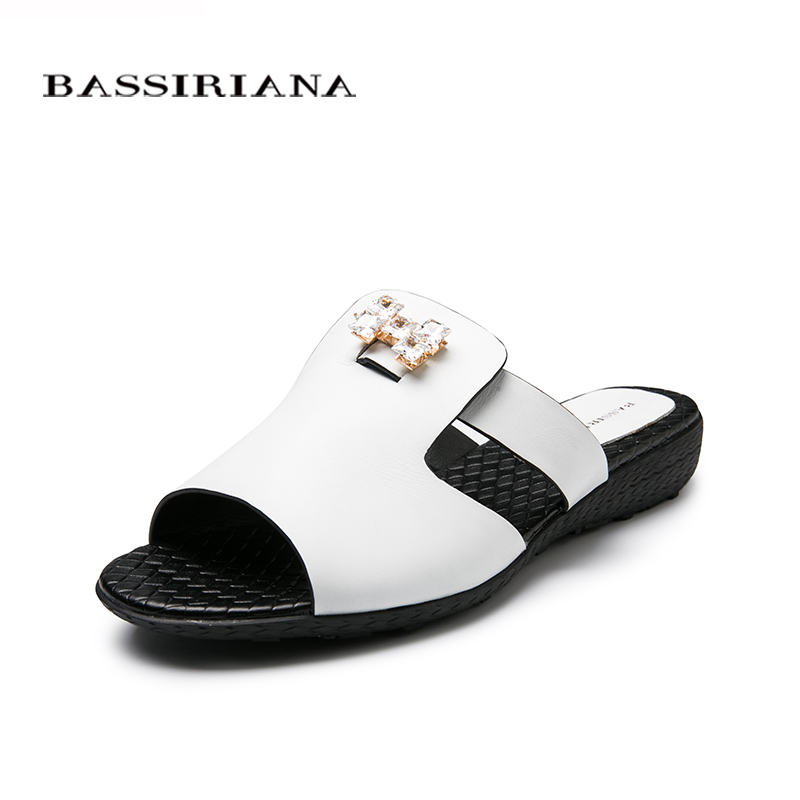 ФОТО Big size 39-43 shoes woman Summer 2017 Genuine leather White outside slippers for women Free shipping BASSIRIANA