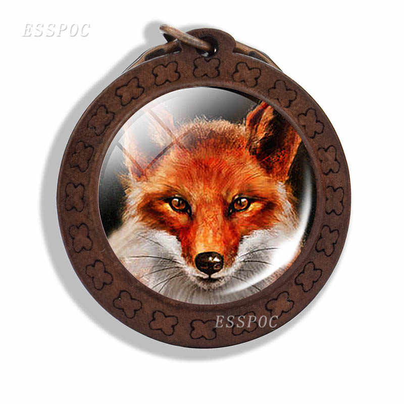 Raposa chaveiro bonito animal raposa foto de vidro cabochão chaveiro de madeira moda acessórios para amantes presente