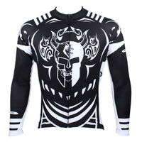 Free Shipping Spartacus Skull Men Long Sleeve Cycling Jersey Comfortable Bike Shirt Black Cycling Top Personality