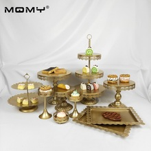 Gold Cake Stand Metal Iron Crystal Pendant Cupcake Wedding Party Decoration Supplier Baking & Pastry Dessert Tools