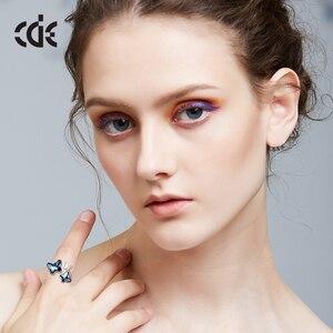 Image 5 - Cde 925 anel esterlina embelezado com cristais borboleta ajustável dedo feminino anel de noivado de casamento jóias