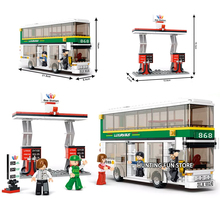 Fit City Series double-deck Bus Station Set With Passengers Figures Educational Building Blocks Toy for Children Gifts