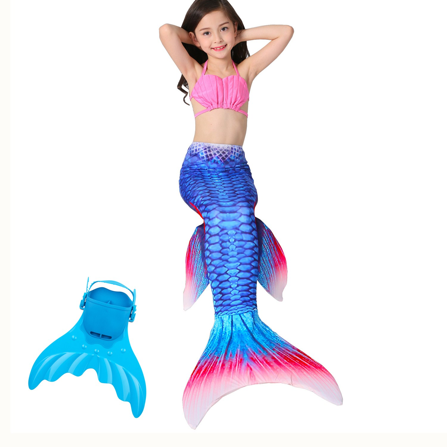 4Pcs/Set Baby Girls Kids Cosplay Mermaid Tail for Swimming with Monofin Swimmable wearl Costumes Flipper Swimsuit