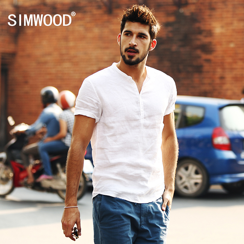 Simwood 2020 New Arrival Summer Short-sleeved Shirts Men 100% Linen White Solid Color Slim Fit Plus Size Collarless Tops CS1534