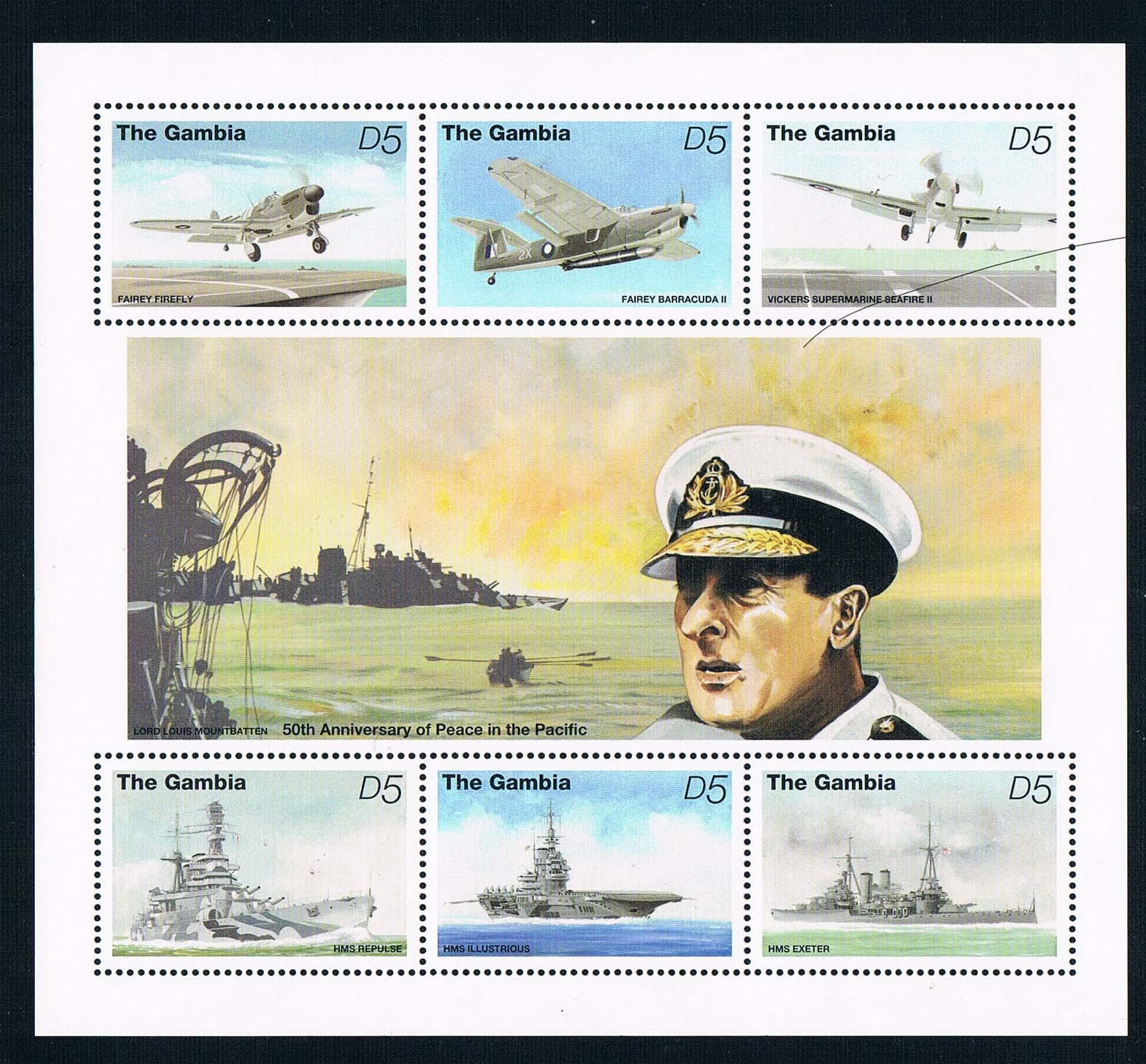 FA0516 Gambia 1995 World War II in the Pacific Naval Aircraft Carrier 1MS new stamps long way back to the river kwai memories of world war ii