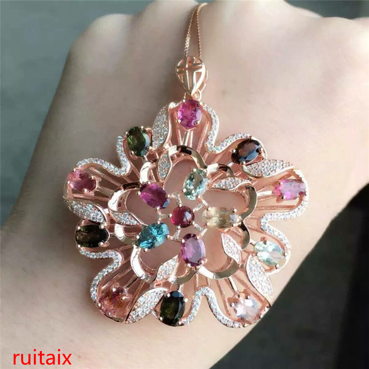 KJJEAXCMY boutique jewels S925 silver rose tourmaline pendant natural heat sale to order sterling silver delivery box chain.