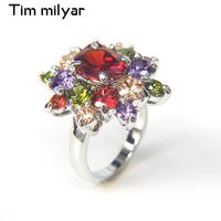 Tim Milyar Hot Sale Multi Color Zircon Rings For Women Wedding Cute Gifts For Couple Silver