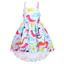 Cute Little Girl Dresses Baby Cartoon Dinosaur Halter Strap Dress Kids Fashion Beach Casual Clothes