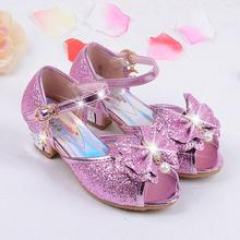 qloblo Summer Children Princess Sandals Kids Girls Buty ślubne High Heels Dress Shoes Party Shoes For Girls Leather Bowtie