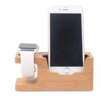 2 in 1 Multifunction Universal Bamboo Wooden Desktop Mobile Phone Holder Stand Charge Station For iPhone For Samsung For iWatch