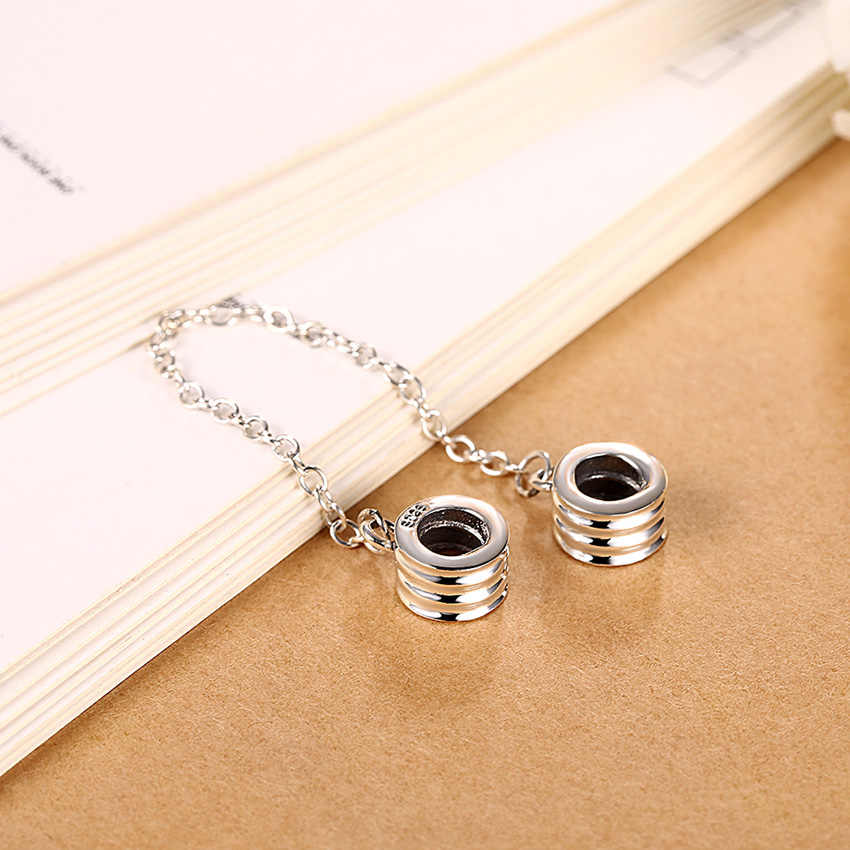 eb319e4ad ... 925 Sterling Silver Safety Chain Beads Screw Thread DIY Stopper Spacer  Murano dot Bead Charm Fit ...